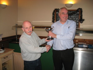 Bruce Green Cup winner 2014, Alan C (left) presents cup to Alan S