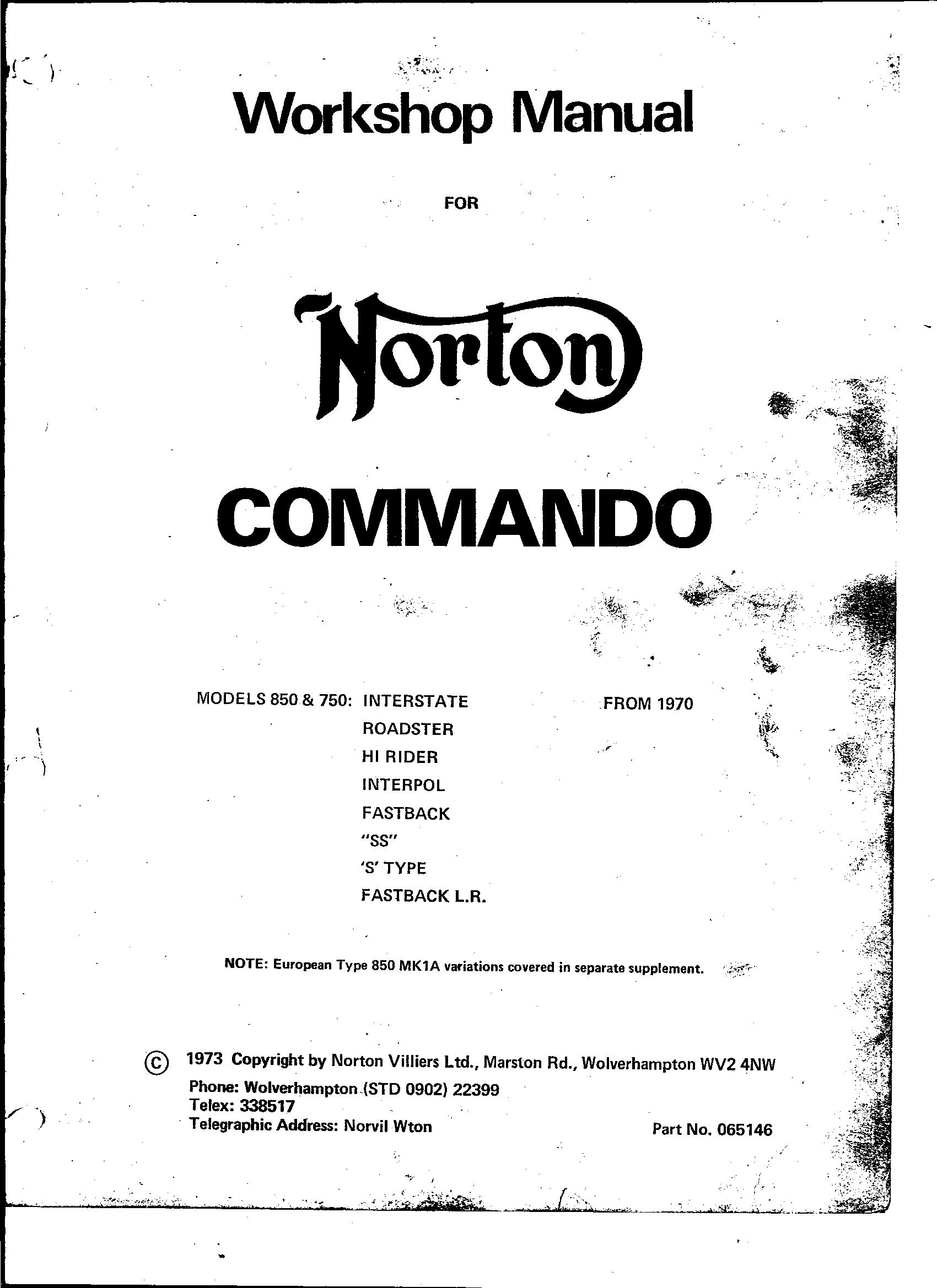 Norton Commando Workshop Manual