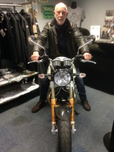 Harry trying out a new bike for size during the club visit to Norton Motors in April